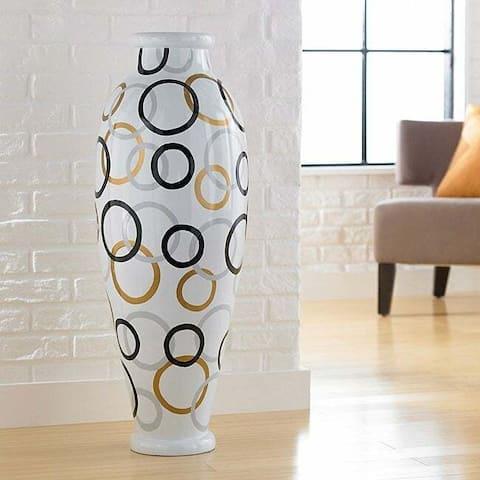 Modern Circles Decorative Urn Floor Vase