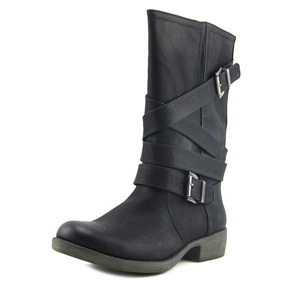 Rocket Dog Truly Women Round Toe Synthetic Black Mid Calf Boot
