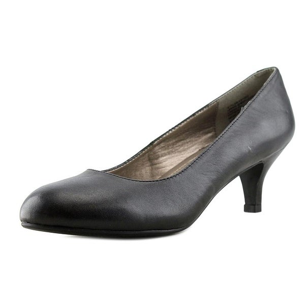 Easy Spirit Round Toe Kitten Women W Round Toe Leather Black Heels