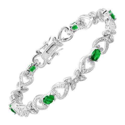 "Green Glass Heart Tennis Bracelet with Cubic Zirconia in Rhodium-Plated Bronze, 7.25"""