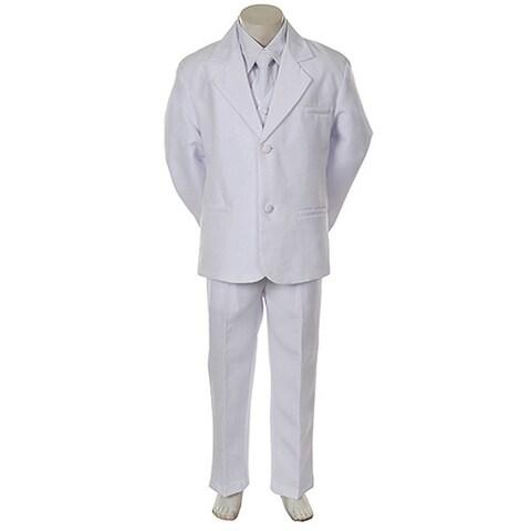 Angels Garment Toddler Little Boys White Classic 5 Pc Set Tuxedo6M-20