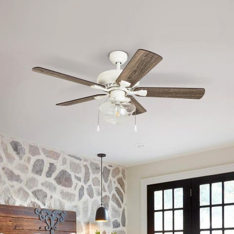 The Gray Barn Eltham 42-inch Coastal Indoor LED Ceiling Fan with Pull Chains 5 Reversible Blades - 42