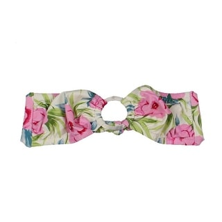 Lisa Curran Swim Womens Floral Print Bandeau Swim Top Separates - M