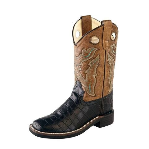 Old West Cowboy Boots Boys Square TPR Outsole Black Crackle