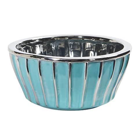 """7.25"""" Teal Vase with Silver Burnishing"""