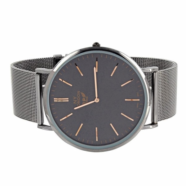 Mens Watch Classy Look Black Mesh Band Black Dial Rose Gold Hands Stainless Steel Back