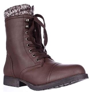 Rampage Jeliana Combat Military Boots - Brown