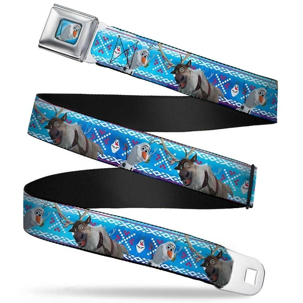 Olaf Waving Blue Full Color Frozen Olaf & Sven Pose Olaf Stitch Blues White Seatbelt Belt
