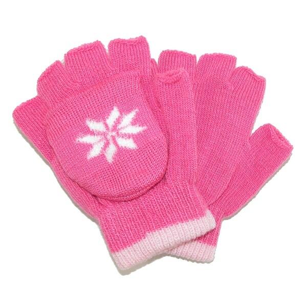 CTM® Girls' Stretch Convertible Fingerless Winter Mittens / Gloves