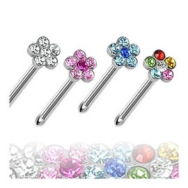 "Surgical Steel Nose Stud with Multi-Gem Paved Flower Top - 20 GA 1/4"" Long (4mm) (Sold Ind.)"