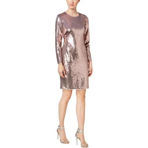 Calvin Klein Womens Party Dress Sequined Sheath