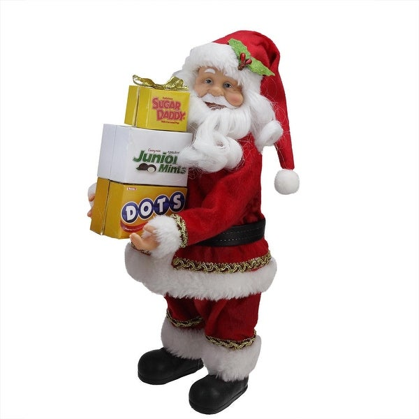 "12"" Santa Claus Carrying Boxes of Dots, Junior Mints, and Sugar Daddy Decoration - RED"