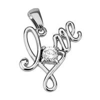 Love with Large Single Gem Stainless Steel Pendant (23 mm Width)
