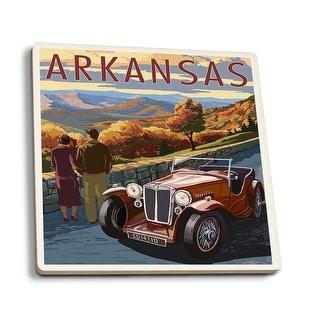 Arkansas - Outlook & Sunset Scene - LP Artwork (Set of 4 Ceramic Coasters)