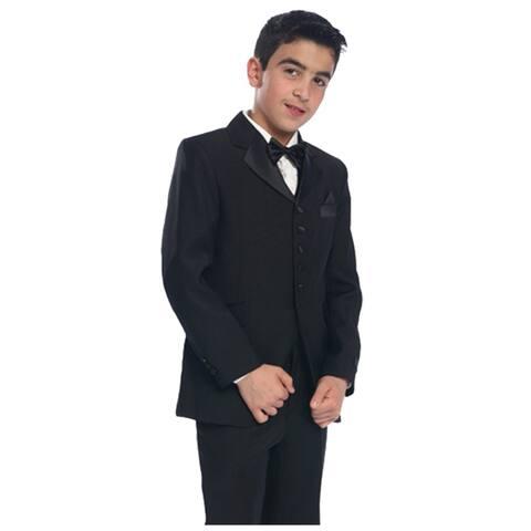 Bijan Kids Black 5 Pc Coat Vest Pant Tie Regular Suit Little Boys
