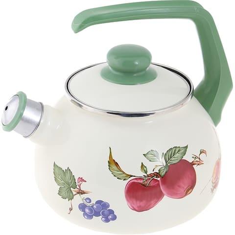 STP-Goods 2.7-Quart Fruits Enamel on Steel Whistle Tea Kettle
