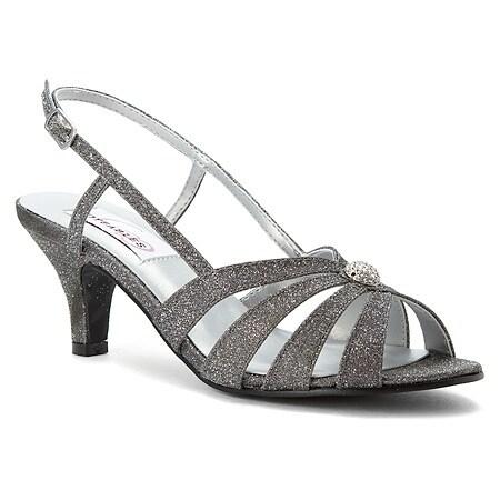 Glitter Low-Heel Open Toe Slingback