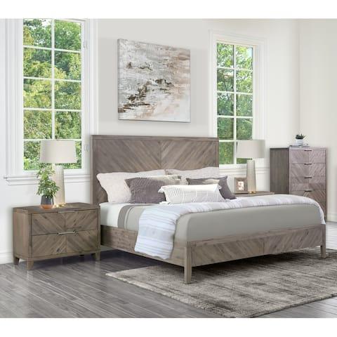 Abbyson Felix Chevron 4 Piece Bedroom Set