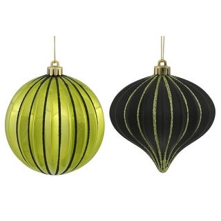 """9ct Lime Green & Black Glitter Striped Shatterproof Christmas Onion and Ball Ornaments 4"""" (100mm)"""