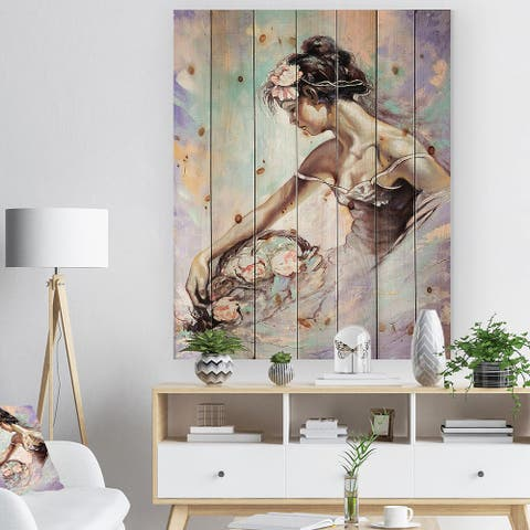 Designart 'Girl with Flower Bouquet' Floral Art Print on Natural Pine Wood - Blue
