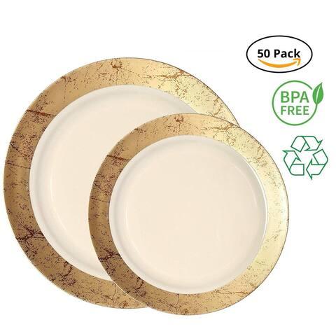 Party Joy 50-Pcs Plastic Dinnerware Set Marble Collection (Gold)