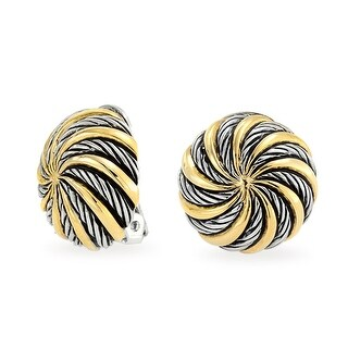 Bling Jewelry Spiral Circle Twisted Cable Clip On Earrings Rhodium Plated Gold Plated Brass