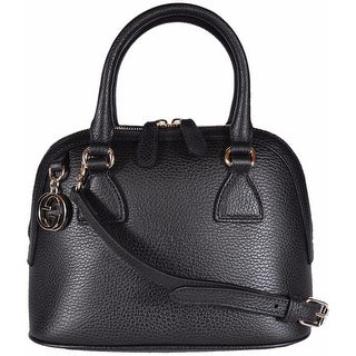 "Gucci 449661 Black Leather 2-Way Convertible GG Charm Small Dome Purse - 9.06"" x 7.48"" x 4.72"""