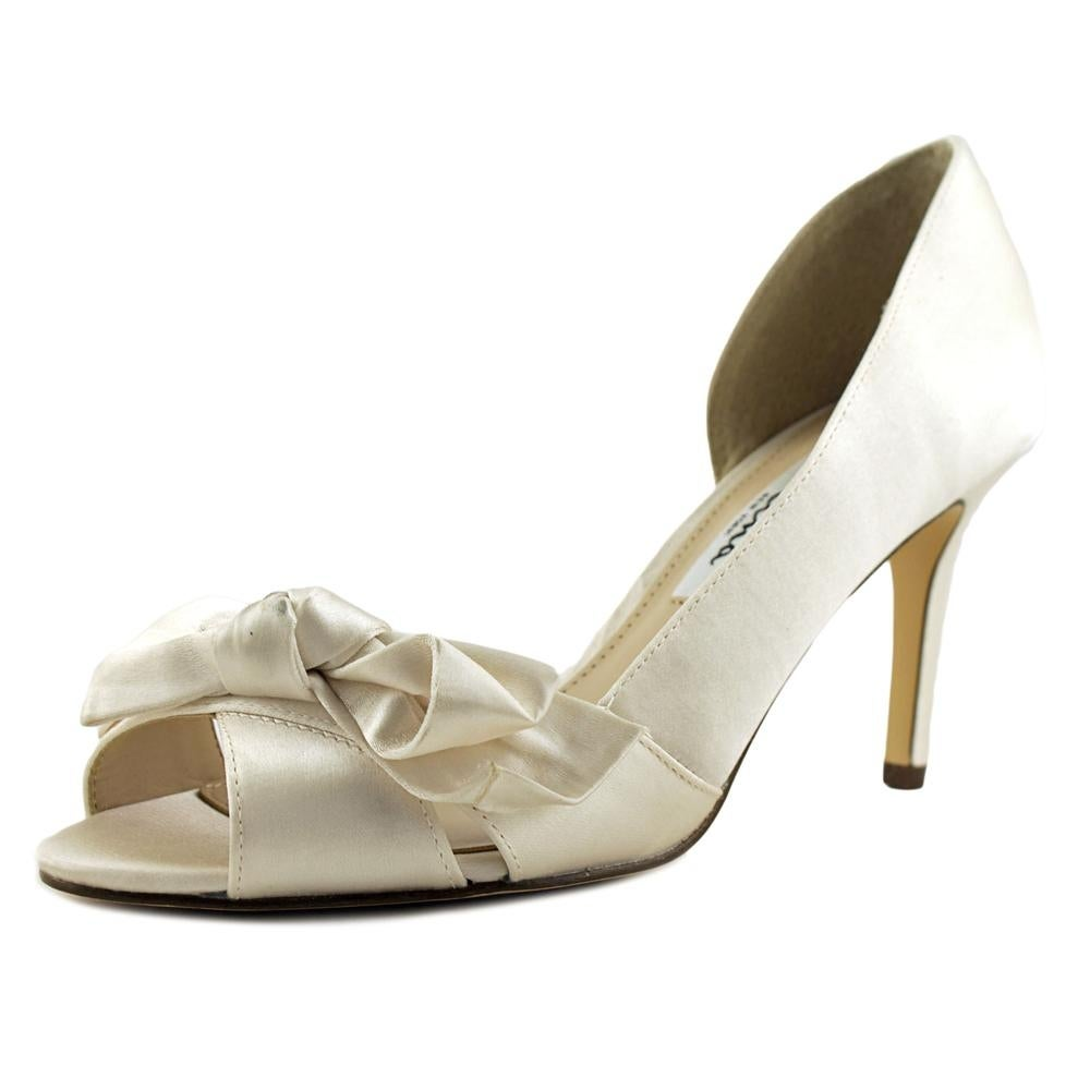 Women Peep-Toe Canvas Ivory Heels