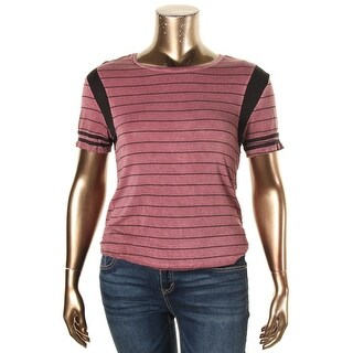 Rebellious One Womens Juniors Casual Top Striped Short Sleeves