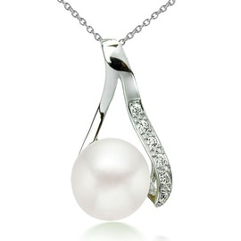 GIG Jewels Sterling Silver White Cultured Freshwater Pearl and CZ Gemstones Pendant 18 Inches Necklace