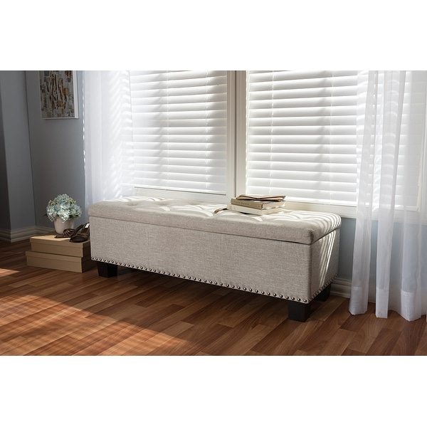 Upholstered Bench Beige: Shop Hannah Beige Fabric Upholstered Button-Tufting