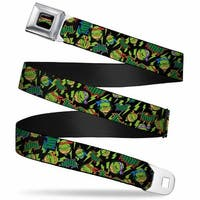 Classic Tmnt Logo Full Color Tmnt Bolts Faces Black Greens Webbing Seatbelt Seatbelt Belt