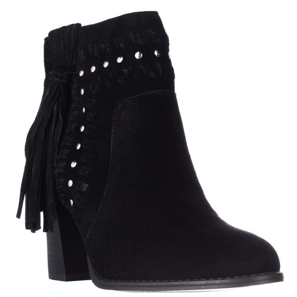 I35 Jade Studded Fringe Fashion Ankle Boots, Black - 7.5 us