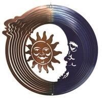 6 in. Small Copper Sun Moon Wind Spinner Yard Art, Blue