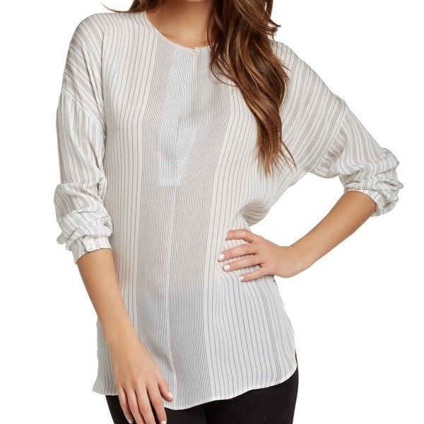 c1a5e044612b0 Shop Vince NEW White Women s Size Medium M Striped Tunic Silk Blouse ...