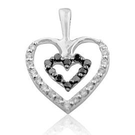 10K White Gold Black and White Diamond Heart Pendant 23mm Tall 0.58cttw(i2/i3, i/j) By MidwestJewellery