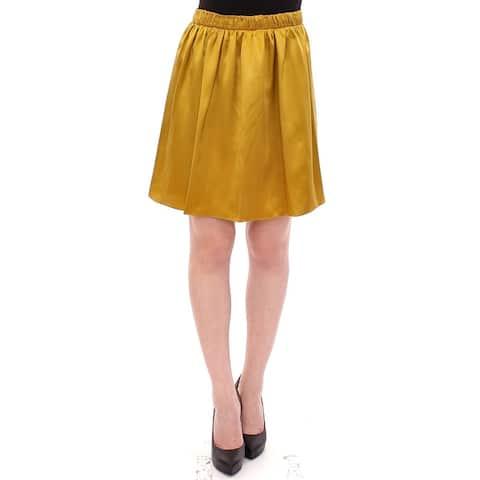 Gold Silk Solid Mini A-Line Women's Skirt