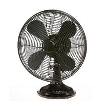 "16.5"" Black Euro Retro Adjustable 3 Speed Table Top Fan - Silver"