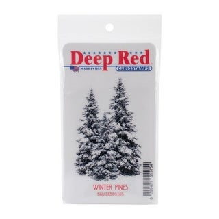Deep Red Stamps Winter Pines Rubber Cling Stamp - 2 x 3.1