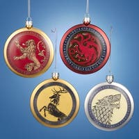 "3.25"" Gold and Red Game of Thrones Flat Disc Shield Family Crest Ornament"