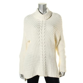 Kensie Womens Cable Knit Cowl Neck Pullover Sweater - L