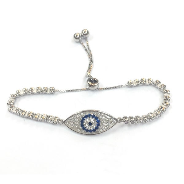 925 Sterling Silver Adjustable Eye Tennis Bracelet With Blue Cubic Zirconia