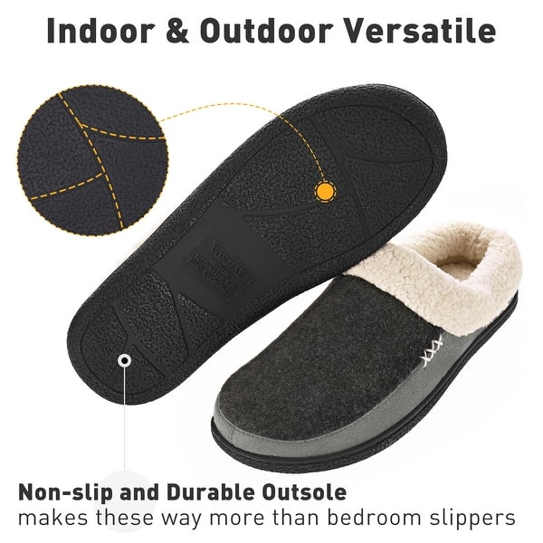 UK Mens Anti-slip Memory Foam Fleece Slippers Slip On Winter Indoor Shoes Sizes