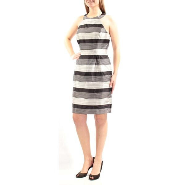 JESSICA SIMPSON Womens Black Striped Sleeveless Jewel Neck Above The Knee Dress Size: 8