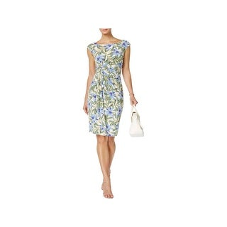 Connected Apparel Womens Petites Cocktail Dress Sleeveless Printed