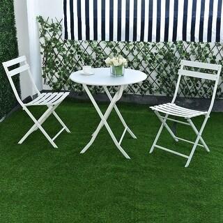 Costway 3 PC Folding Table Chair Set Outdoor Patio Garden Pool Backyard Furniture White