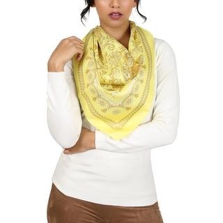 Versace Yellow Baroque Print Silk Foulard Scarf