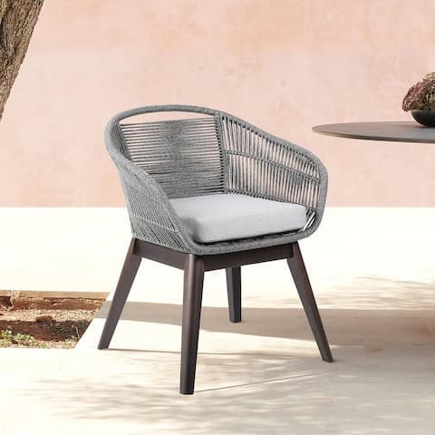 Tutti Frutti Indoor Outdoor Dining Chair in Dark Eucalyptus Wood with Latte Rope and Grey Cushions - Gray