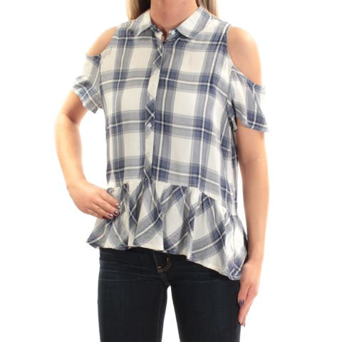 BUFFALO Womens Blue Cold Shoulder Plaid Short Sleeve Collared Button Up Top Size: M