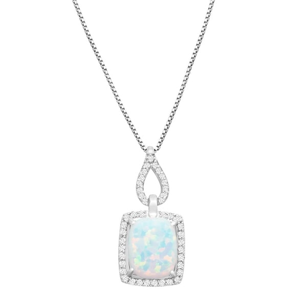 3/4 ct Created Opal & 1/5 ct Diamond Pendant Necklace in Sterling Silver - White